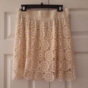 Papillon Lace Cream Skirt Large NWT